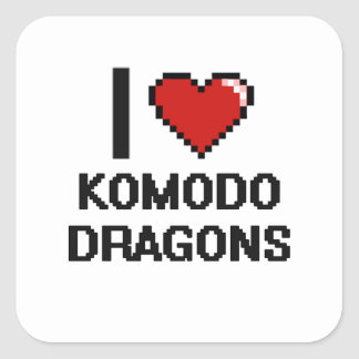 I love Komodo Dragons Digital Design Square Sticker
