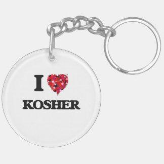 I Love Kosher Double-Sided Round Acrylic Key Ring