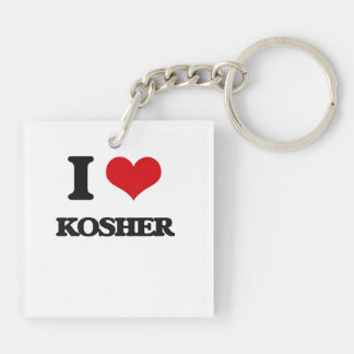 I Love Kosher Square Acrylic Keychains
