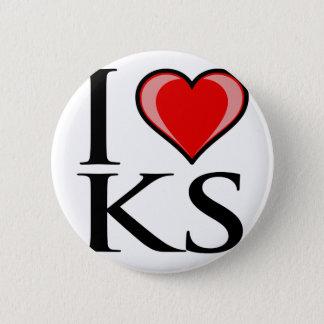 I Love KS - Kansas 6 Cm Round Badge