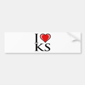 I Love KS - Kansas Bumper Sticker