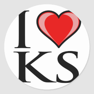 I Love KS - Kansas Classic Round Sticker