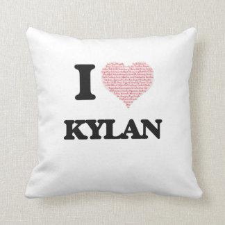 I Love Kylan (Heart Made from Love words) Cushions