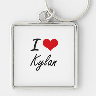 I Love Kylan Silver-Colored Square Key Ring
