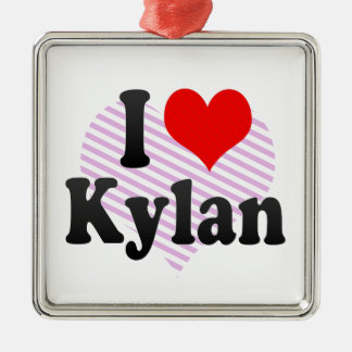 I love Kylan Silver-Colored Square Decoration