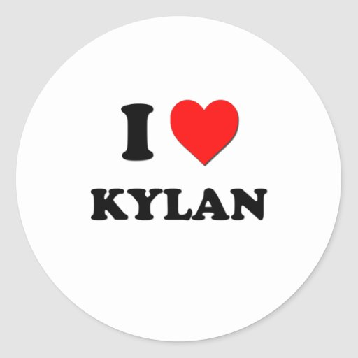 I love Kylan Round Stickers