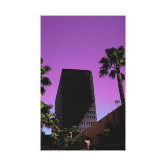 I love L.A. Cityscape Purple Themed  Wrapped Canva Canvas Prints