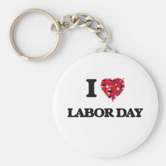 I Love Labor Day Basic Round Button Key Ring