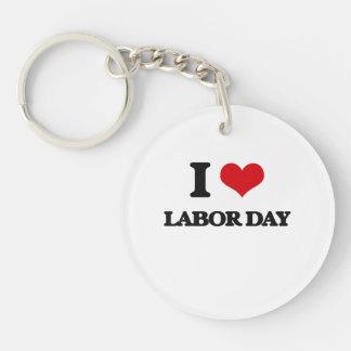 I Love Labor Day Single-Sided Round Acrylic Key Ring