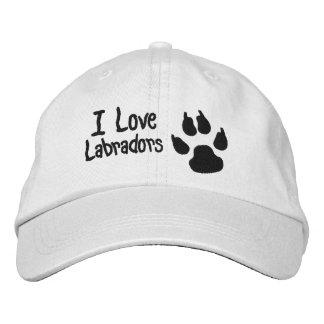 I Love Labradors Dog Paw Print Embroidered Baseball Caps