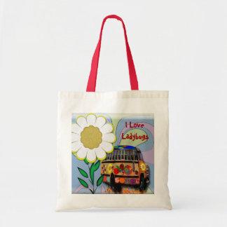 I Love Ladybugs Tote Bags
