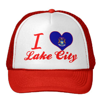 I Love Lake City, Michigan Trucker Hats