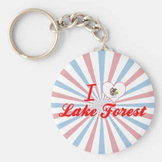I Love Lake Forest, Illinois Basic Round Button Key Ring
