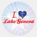 I Love Lake Geneva, Wisconsin Round Sticker