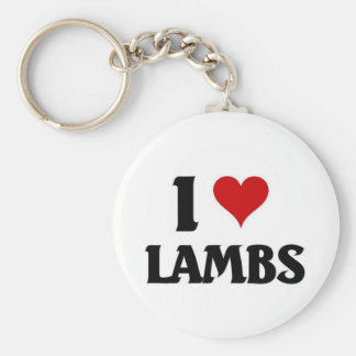 I love lambs basic round button key ring