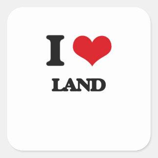 I Love Land Square Sticker