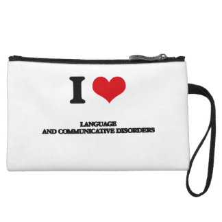 I Love Language And Communicative Disorders Wristlet Clutches