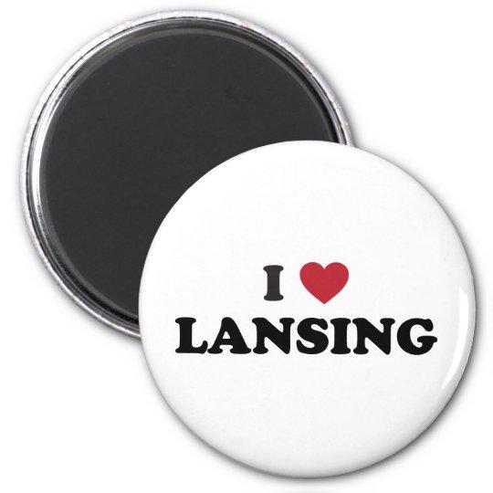 I Love Lansing Michigan 6 Cm Round Magnet