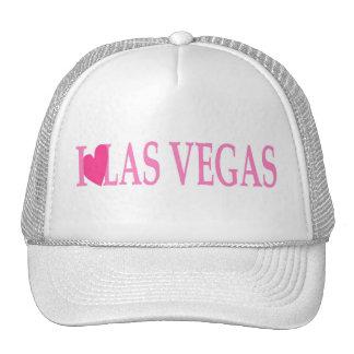 I LOVE Las Vegas (Pink Heart) on White Cap! Cap