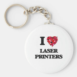 I Love Laser Printers Basic Round Button Key Ring