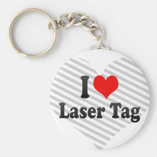 I love Laser Tag Basic Round Button Key Ring