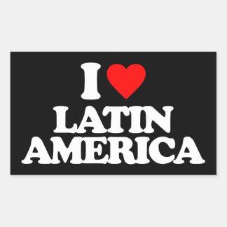 I LOVE LATIN AMERICA RECTANGULAR STICKER