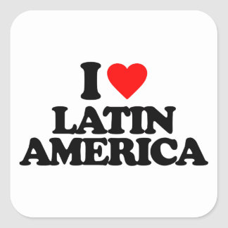I LOVE LATIN AMERICA SQUARE STICKER