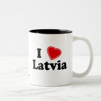 I Love Latvia Two-Tone Coffee Mug