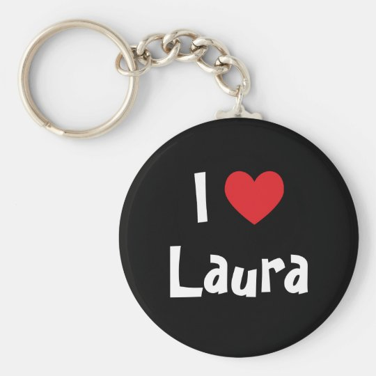 I Love Laura Basic Round Button Key Ring