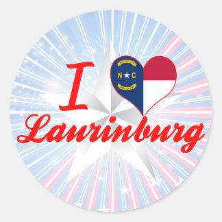 I Love Laurinburg, North Carolina Round Sticker