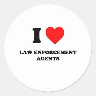 I Love Law Enforcement Agents Round Sticker