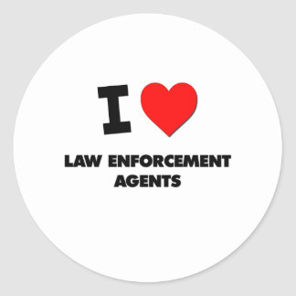 I Love Law Enforcement Agents Round Stickers