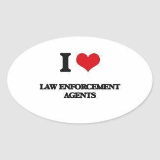 I love Law Enforcement Agents Oval Sticker