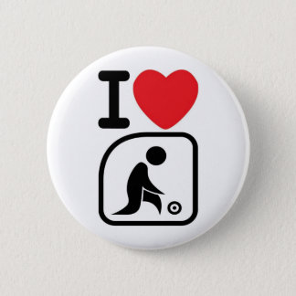 I love lawn bowls 6 cm round badge