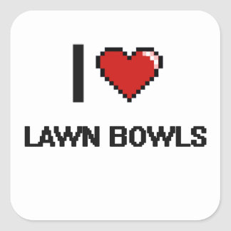 I Love Lawn Bowls Digital Retro Design Square Sticker