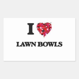 I Love Lawn Bowls Rectangular Sticker