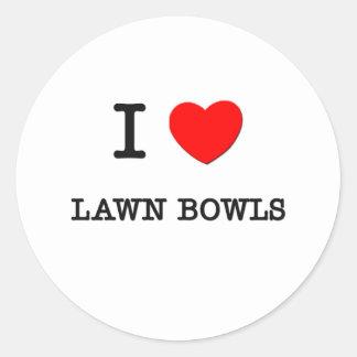 I Love Lawn bowls Round Sticker