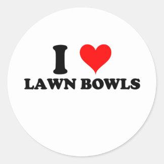 I Love Lawn Bowls Round Stickers