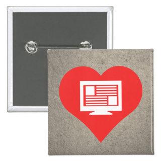 I Love Lcd Monitors Modern 15 Cm Square Badge