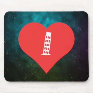 I Love Leaning Tower Of Pisa Icon Mouse Pad