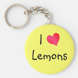 I Love Lemons Basic Round Button Key Ring