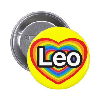 I love Leo. I love you Leo. Heart 6 Cm Round Badge