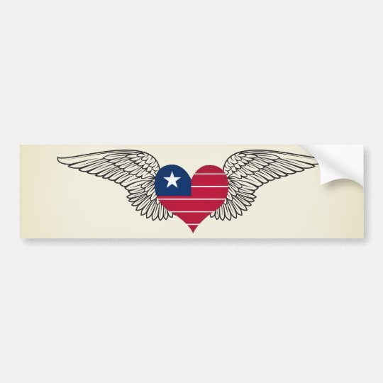 I Love Liberia -wings Bumper Sticker