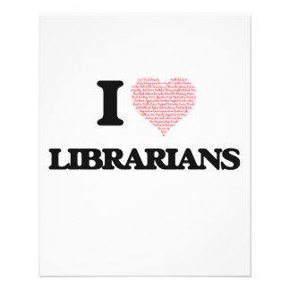 I love Librarians (Heart made from words) 11.5 Cm X 14 Cm Flyer