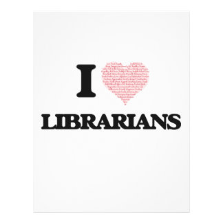 I love Librarians (Heart made from words) 21.5 Cm X 28 Cm Flyer