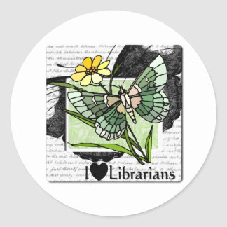 I Love Librarians Round Sticker