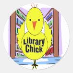 I Love Library Chicks Round Sticker