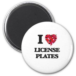 I Love License Plates 6 Cm Round Magnet