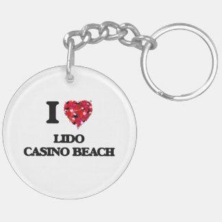 I love Lido Casino Beach Florida Double-Sided Round Acrylic Key Ring