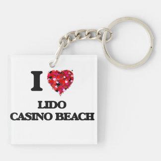 I love Lido Casino Beach Florida Double-Sided Square Acrylic Key Ring